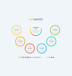 6 options circle workflow layout infographic vector image