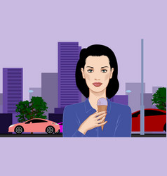 a girl with a ice cream in a waffle cone in her vector image