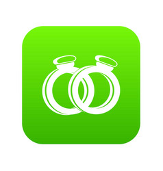 a pair of gold wedding rings icon digital green vector image