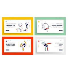 Acrobat characters performing gymnastics elements vector