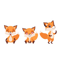adorable little fox in various emotions set vector image