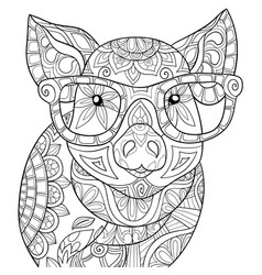 adult coloring bookpage a cute pig wearing vector image
