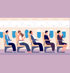 airline passengers people traveling with tablet vector image