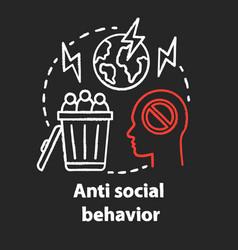 Anti social behavior chalk concept icon vector