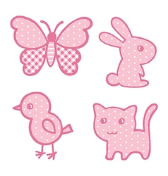 Applique prints for baby girls set vector