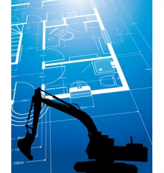architectural drawing and digger vector image