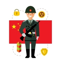 Army of China Flat style colorful Cartoon vector