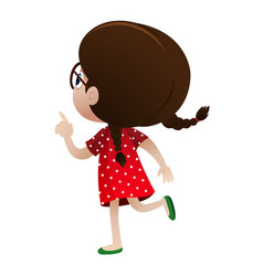 Back of little girl dressed in red vector