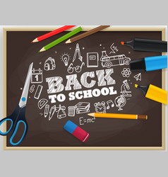 back to school concept with chalk doodle elements vector image