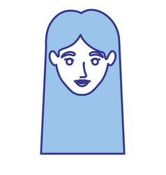 Blue silhouette of woman with straight long hair vector