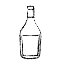 blurred silhouette wide champagne bottle with vector image