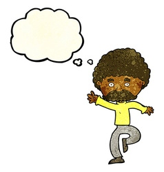 Cartoon mustache man disco dancing with thought vector