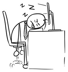 Cartoon of man sleeping on the computer keyboard vector