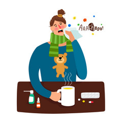 cartoon sick girl with fever vector image