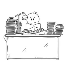 cartoon student reading or learning from book vector image
