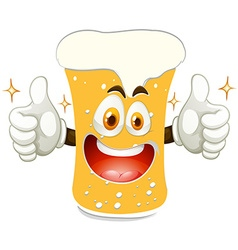 Cheerful glass of beer vector