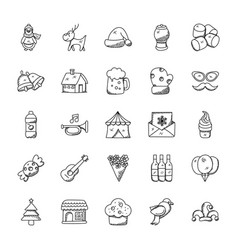 Christmas doodles collection vector