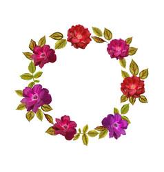 colorful flowers wreath elegant floral vector image