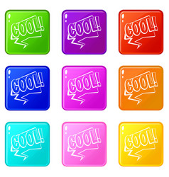 Cool comic text speech bubble icons 9 set vector