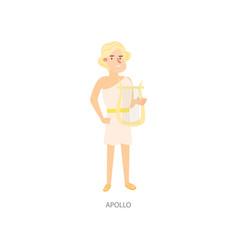 Cute blonde man ancient mythology apollo greek god vector