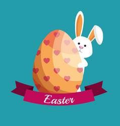 Cute rabbit happy easter vector