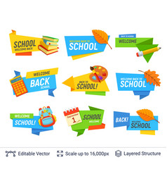 education colorful badges set vector image
