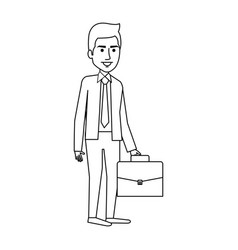 Elegant businessman with portfolio avatar vector