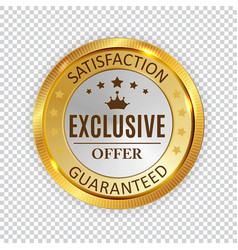exclusive offer golden shiny label sign vector image
