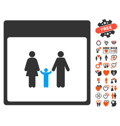 Family calendar page icon with dating bonus vector