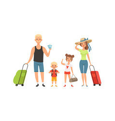family tourists man woman children with baggage vector image