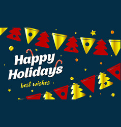 festive background happy holidays new year card vector image