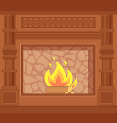 Fireplace with carved wooden decoration of sides vector