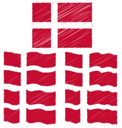 Flat and Waving Hand Draw Sketch Flag of Denmark vector image