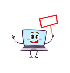 flat funny laptop character with placard vector image