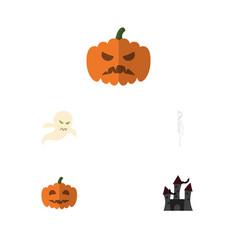 flat icon celebrate set pumpkin fortress vector image