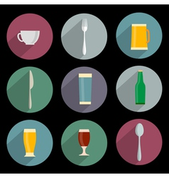 Flat Icons of kitchen objects vector