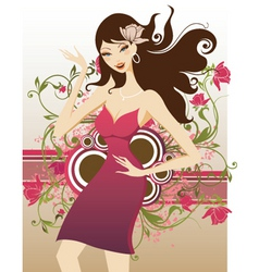 floral fashion girl vector image
