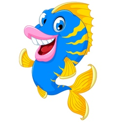 Funny fish cartoon smiling vector