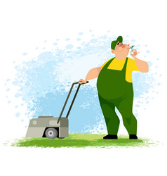 gardener with a lawn mower vector image