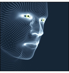 Head of the Person from a 3d Grid Human Head Model vector