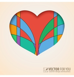 Heart cut out of paper with abstract colored vector image