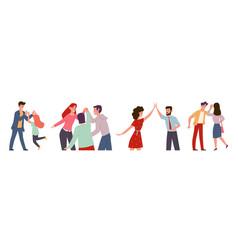 High five happy people informal greeting group vector