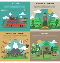 Hiking banner 4 flat icons square vector