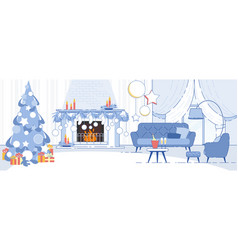 home interior christmas decorations flat vector image