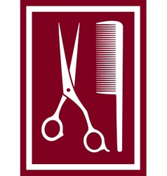 icon with barber scissors and comb vector image