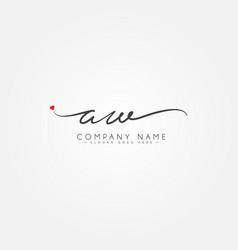 Initial letter aw logo - handwritten signature vector