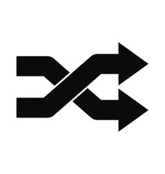 Intersecting arrows black simple icon vector
