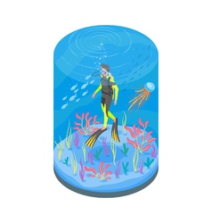 Isometric 3d of diver with snorkelling equipment vector image