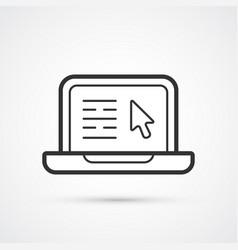 laptop flat black trendy line icon eps10 vector image