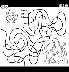 line maze with cartoon badragon with mother vector image